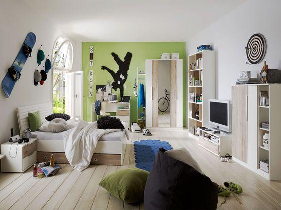 Jugendzimmer COUL II weiss/Eiche SanRemo
