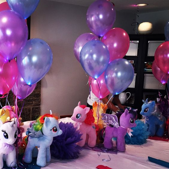 Centerpieces made with My Little Pony plush dolls from Build A Bear.