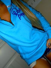 Pink by Victoria's Secret blue w/blue graphics half zip sweatshirt crew SMALL