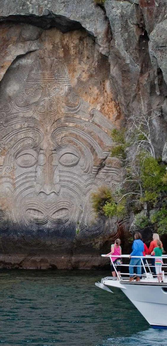 Maori rock carvings lake taupo nz new zealand