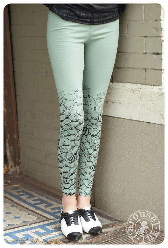 Sage Green Leggings  Womens Leggings  Legging by Carouselink, $28.00