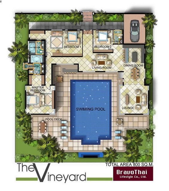 Swimming the lounge and house on pinterest for Tropical house plans with courtyards