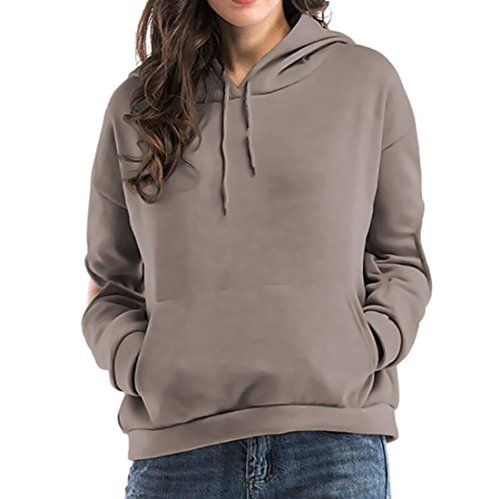 XiaoShop Womens Casual Pullover Solid Long-Sleeve Hood Pullover Sweatshirt