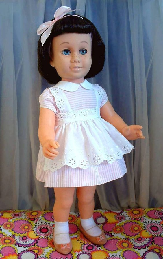 TALKING Vintage CHATTY CATHY Doll Original Peppermint Pink Dress, Pinafore, Shoes, Socks and Underwear c.1960!