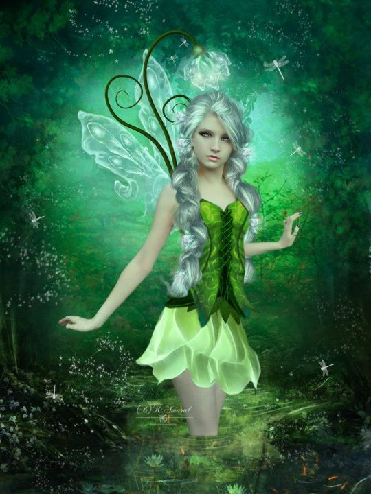 Elves Faeries Gnomes:  Green Faery.: