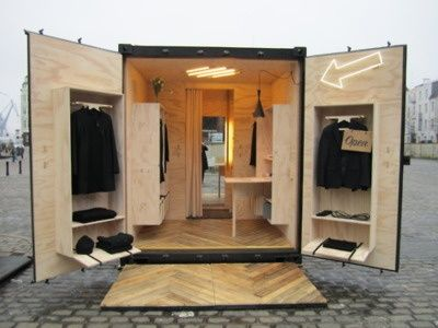 This sure is a genuinely portable pop-up shop idea! Once fabricated it is ready-to-go. Popup Republic