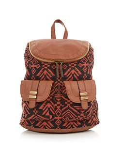 Tan (Stone ) Tan Aztec Print Contrast Zip Top Backpack