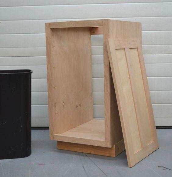 "Kitchen Cabinet Doors Diy: Build A 18"" Kitchen Base Cabinet Trash Pull"