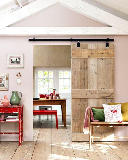 rustic barn door, red accents
