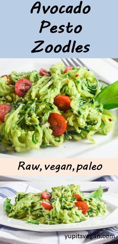 Avocado Pesto Zucchini Noodles   Yup, it's Vegan. 7 ingredients, raw, vegan, gluten-free.