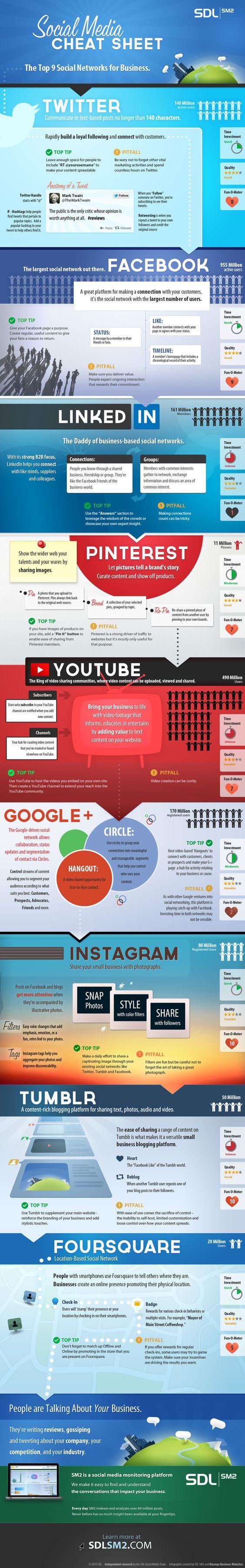 Infografía en inglés que muestra las mejores 9 redes sociales para hacer negocios. No se lo pierda.