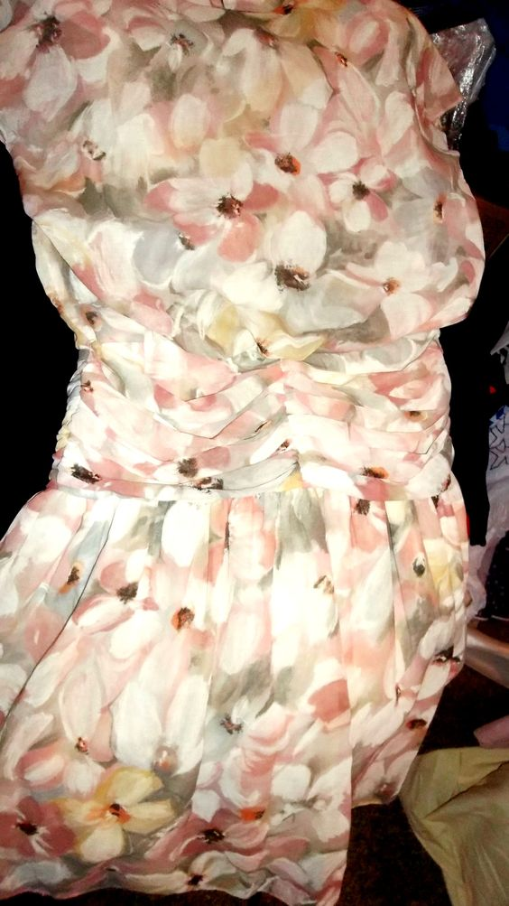 Ruched floral dress.