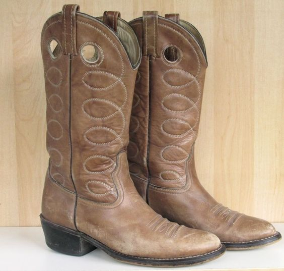 Men's Vintage Buckaroo Distressed Tan Leather Cowboy Boots Made in ...