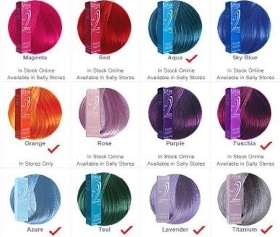 Ion hair colors --- Magenta, Rose, Lavender, and/or Radiant Orchid...those are the colours I want for my peekaboo highlights over the summer c: