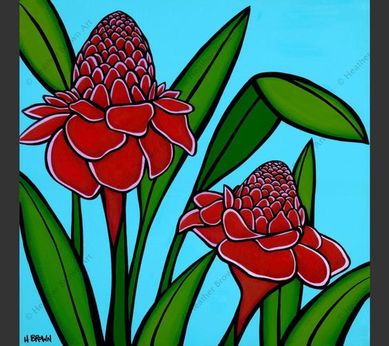 """Painting of Torch Ginger Flowers by Hawaii artist Heather Brown is part two of the """"Hawaiian Botanicals"""" series."""