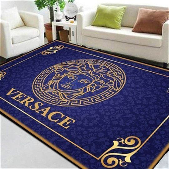 Versace Area Rug Luxury Fashion Brand Logo In Gift Unique Lam 1703202025 Versace Area Rug In 2020 Versace Blue Living Room Rugs