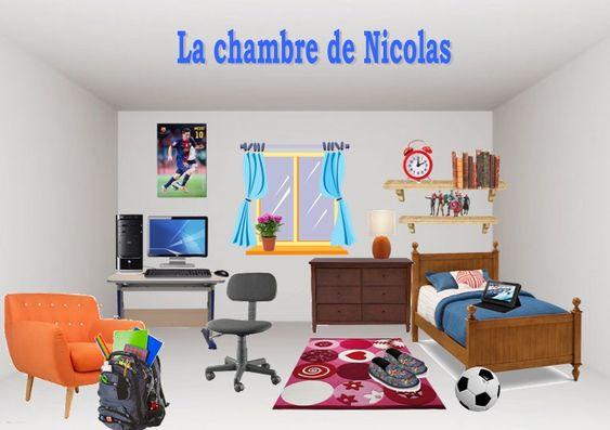 jeux de déco - Les élèves doivent comprendre ces instructions avec le vocabulaire des meubles et les prépositions de lieu et aménager la chambre de Nicolas.
