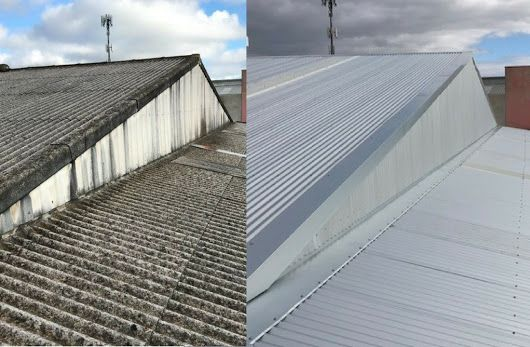 Out With The Old And In With The New Asbestos Roof Removed And Replaced Using Bluescope Corrugated Zincalume Materials On A Roofing Roof Outdoor Decor