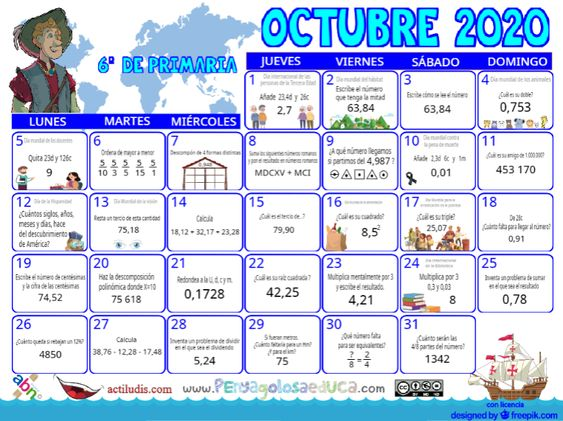 Calendario Sexto ABN – Octubre 2020