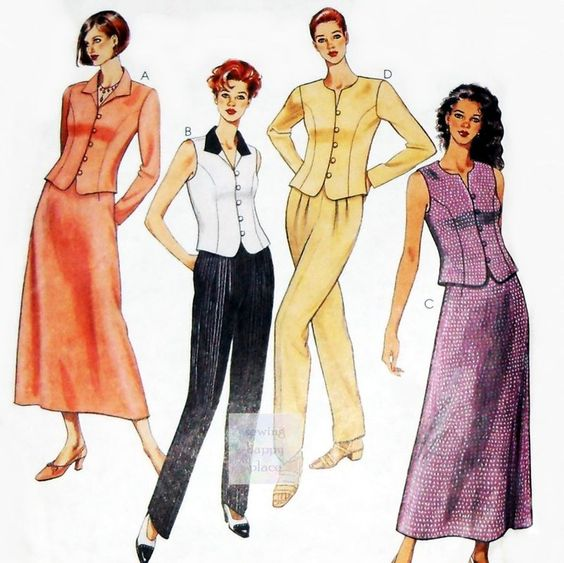 Misses Dressy Suit Separates 90s Pattern. Tops w Princess Seams, Pants, Skirt. McCall's 8642 #sewinghappyplace