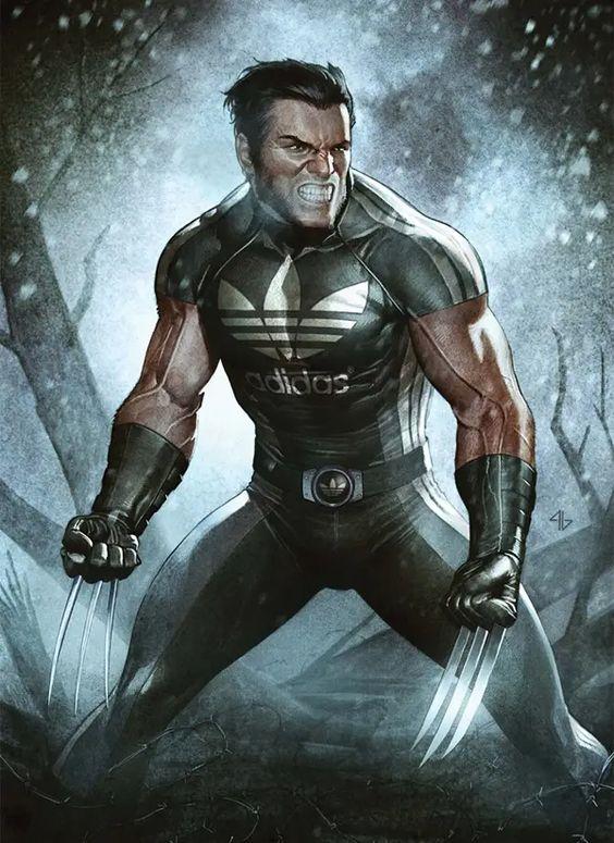 Wolverine wearing costume with Adidas branding
