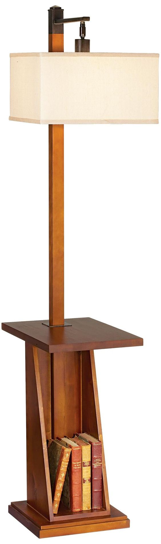 Astor place walnut tray and shelf floor lamp lampsplus for Floor lamp with shelves