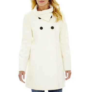 Worthington® Four-Button Babydoll Wool-Blend Coat found at