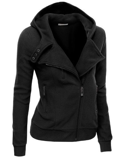 Amazon.com: Doublju Women's Fleece Zip-Up High Neck Jacket ...