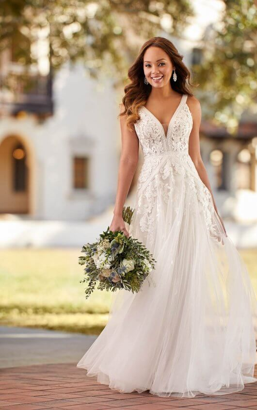 Boho Inspired A Line Wedding Dress With Mixed Laces Stella York Wedding Dresses In 2020 Stella York Wedding Dress York Wedding Dress A Line Wedding Dress