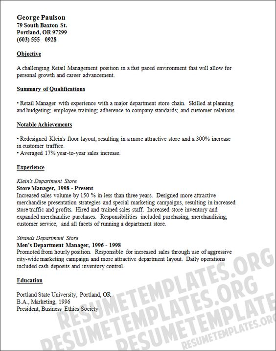 Retail stores, Retail manager and Resume on Pinterest resume examples for retail store manager | retail manager resume template