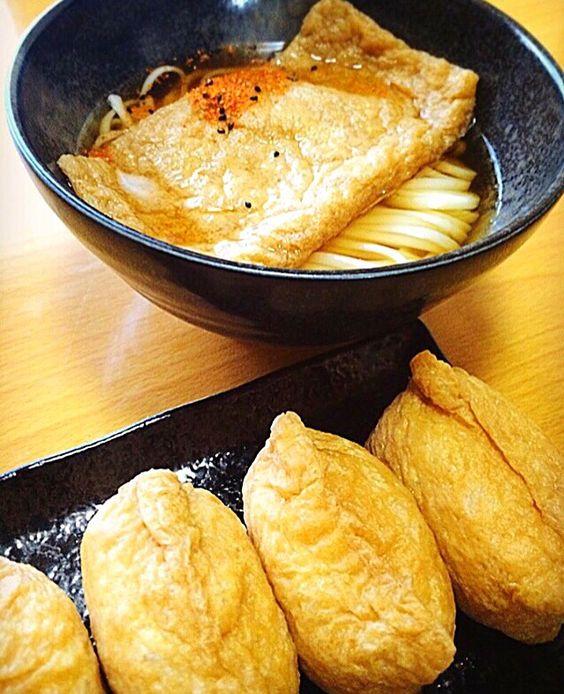 ガク魁  男飯 やぁづ's dish photo きつねうどん おいなりさん | http://snapdish.co #SnapDish #レシピ #うどん #お寿司 #朝ご飯 #お昼ご飯 #簡単料理