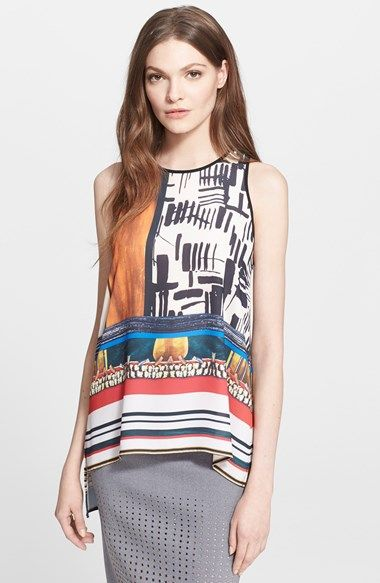 Free shipping and returns on Clover Canyon 'Imperial Markings' Print Georgette Tank at Nordstrom.com. The broad brushstrokes of Japanese calligraphy mingle with images of fringed prayer beads and bold stripes to create a wildly printed top with a flowing high/low hem.