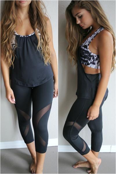 Black capri active wear leggins with mesh detail around legs.  Material is…