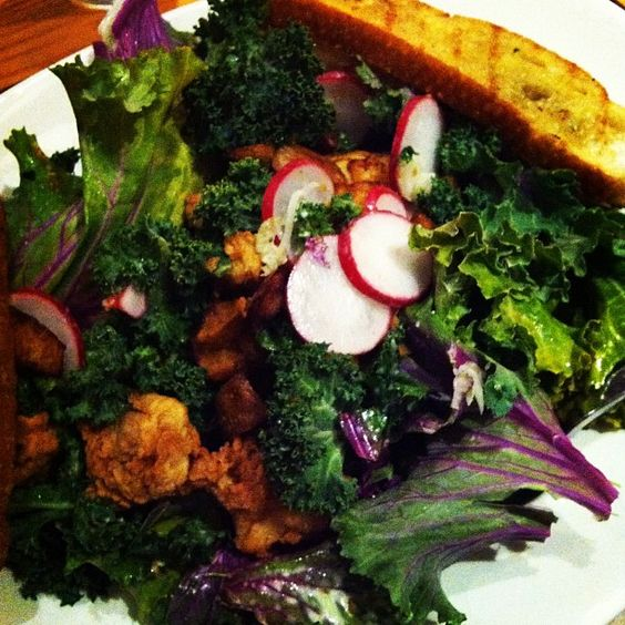 """Kale salad w/ chicken fried oysters from Tender Greens"""