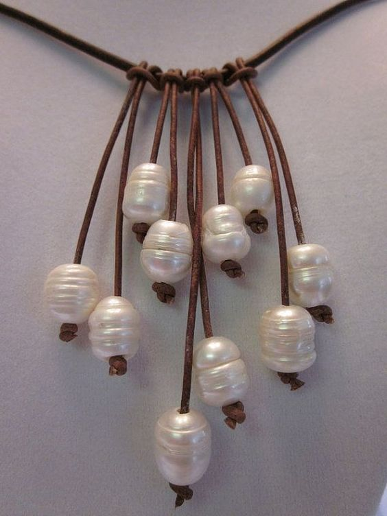 White Freshwater Pearl and Leather Necklace by ARIELSPEARLS, $46.00: