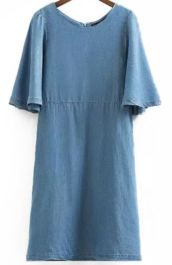Blue Ruffle Sleeve Loose Denim Dress 8.67