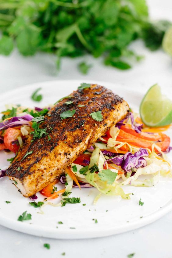 Pan Seared Mahi Mahi with Honey Lime Coleslaw: