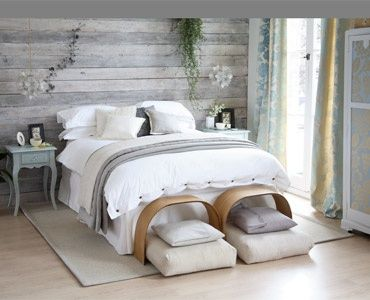 Whitewashed reclaimed wood wall