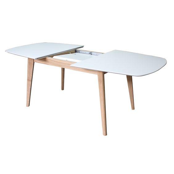 Table Avec Allonge En Bois Massif Plateau Laqu Blanc De Chez Pirotais Design Et Fabrications