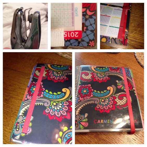 @erincondren.com I used a rectangle hole puncher to cut two holes in the back of my planner. Then I cut the erin condren band and inserted it then sewed it back together and voila a band that stays with my planner and doesn't fly off!
