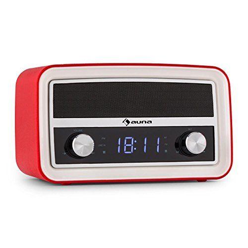 auna Caprice - Radio-réveil rétro avec Bluetooth, FM, USB pour recharge et port AUX - double alarme, fonction snooze, sleep-timer - rouge Auna http://www.amazon.fr/dp/B00XLTSCTI/ref=cm_sw_r_pi_dp_mrAAwb1DP6N70
