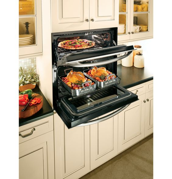 Wall Oven Cabinets: The GE Profile Single-double Wall Oven Provides Double