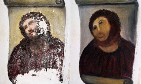 The original Ecce Homo-style fresco of Christ – before retouching, left, and after