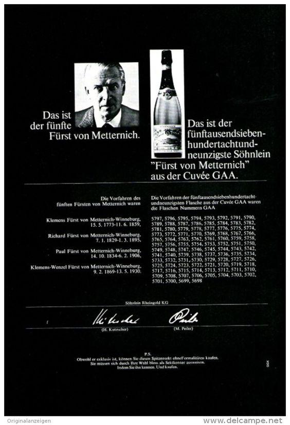 Original-Werbung/ Anzeige 1965 - SÖHNLEIN / FÜRST VON METTERNICH SEKT - ca. 180 x 240 mm