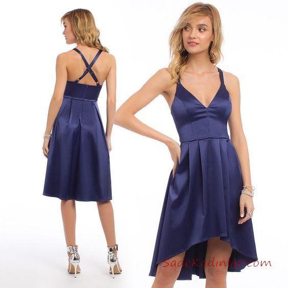 2019 Abiye Elbise Modelleri Lacivert Kisa Saten Askili On Kisa Arka Uzun Etekli Aksam Elbiseleri Aksamustu Giysileri The Dress