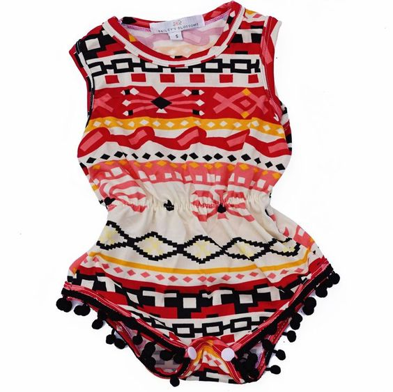 Pom Pom Romper - Aztec | Children's and Baby Clothing Boutique | Bailey's Blossoms