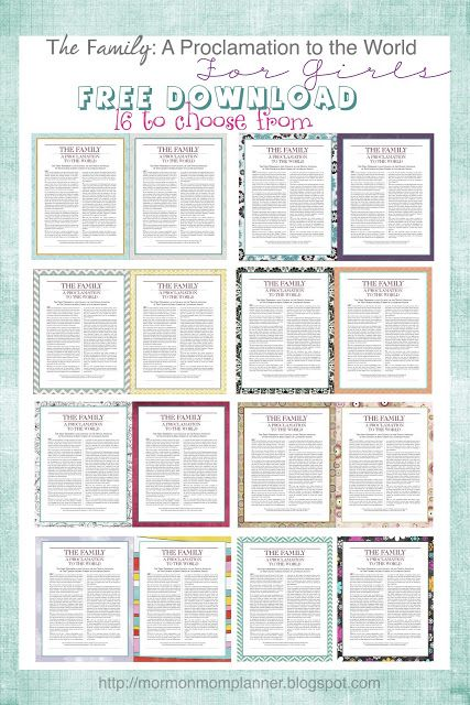 The family proclamation for girls free download lds pins we like