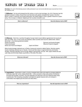 WWI Causes Learning Activity Worksheet | Learning Activities, Wwi ...