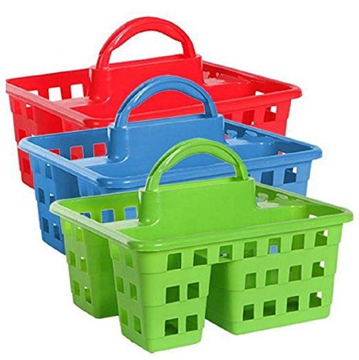 Divided 3 Compartment Plastic Tote Caddies Baskets Red Blue And Lime Green 3 Ct Set Multipurpose Storage School Supply Caddy Preschool Supplies