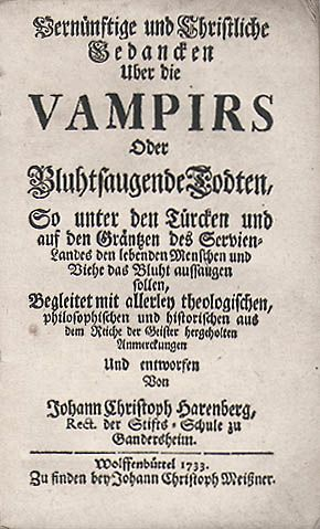 A early tractat on Vampires.  Written by J.CH. Harenberg in 1733.